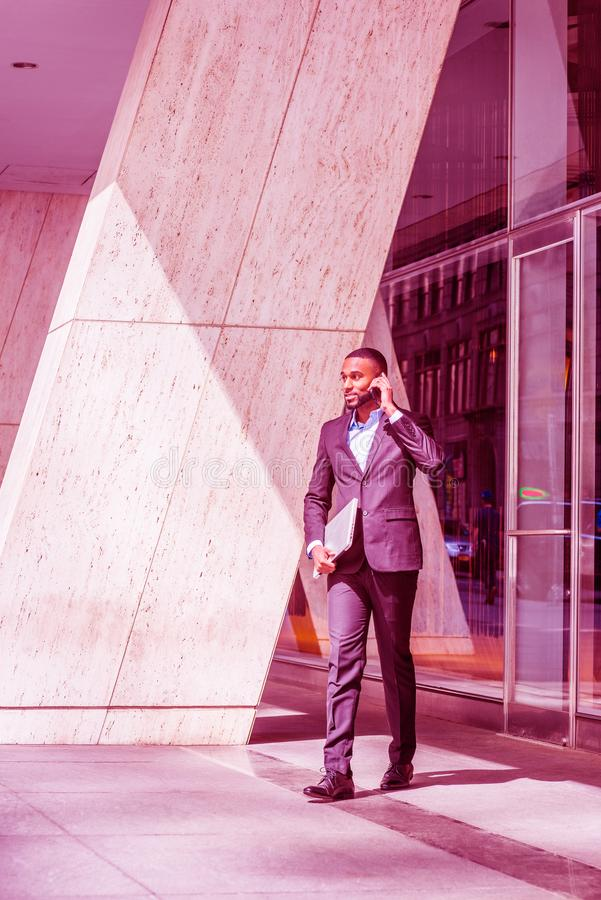 African American businessman with beard traveling in New York City royalty free stock photos