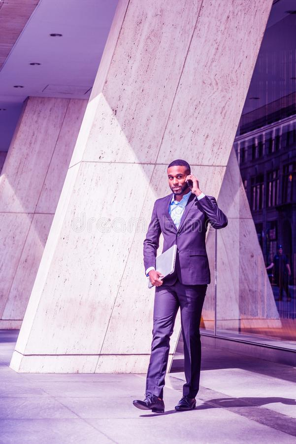 African American businessman with beard traveling in New York City stock photography