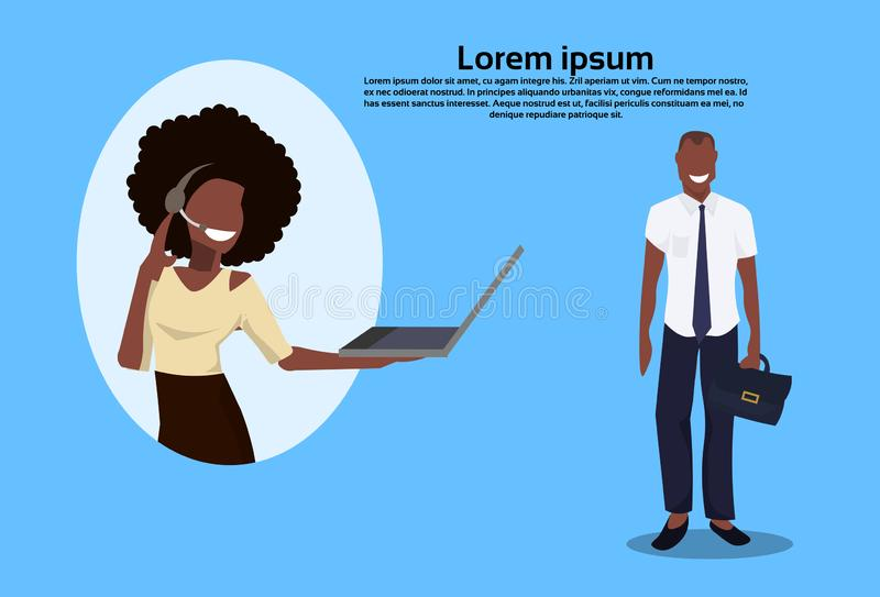 African american businessman communication call center woman operator concept support service cartoon character royalty free illustration