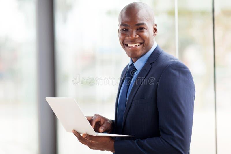 African american businessman laptop computer royalty free stock photos