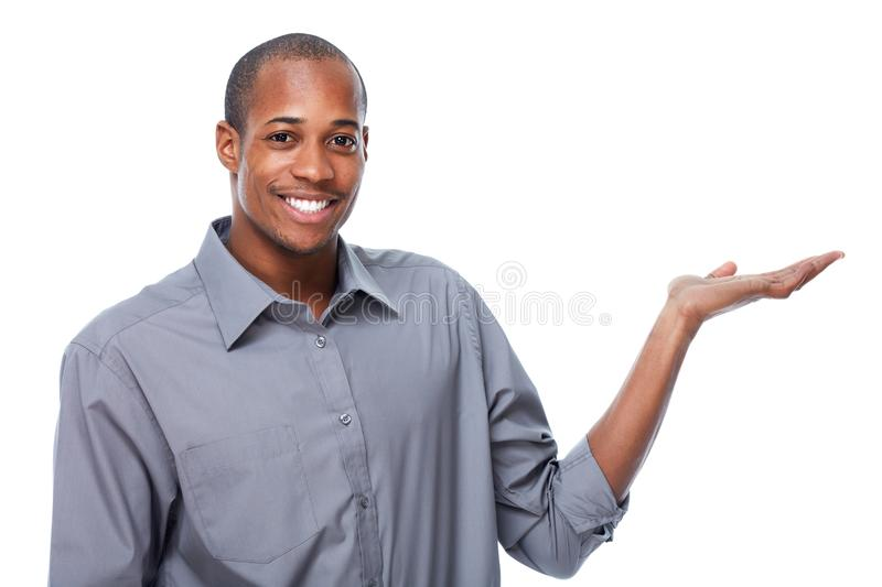 African-American businessman presenting copy space stock image