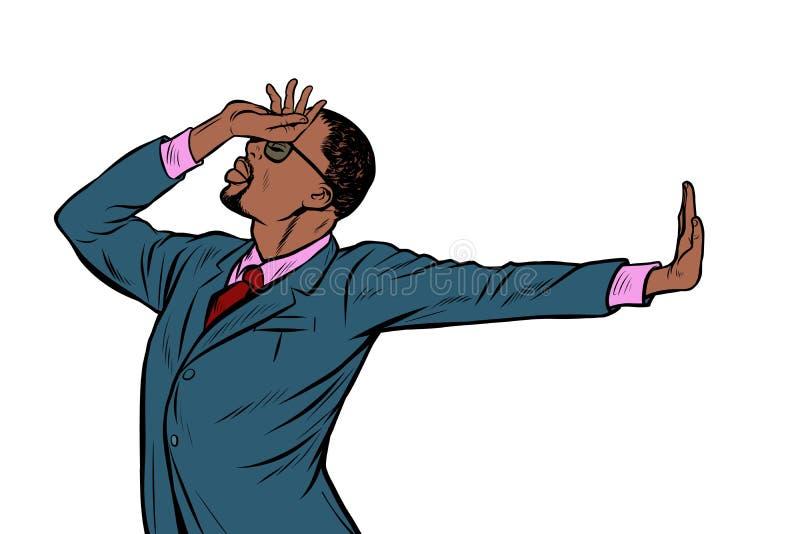 African American businessman. shame denial gesture no royalty free illustration