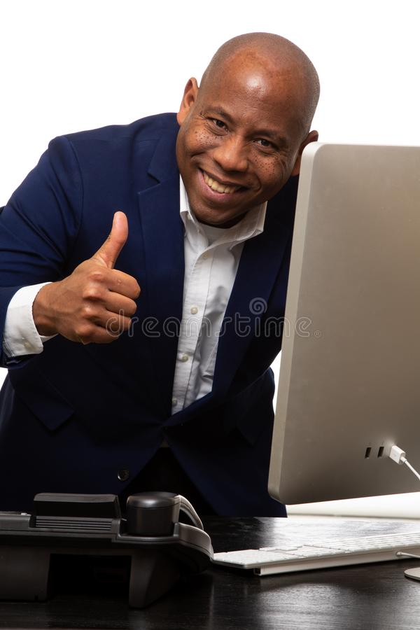 African American Businessman With Thumbs Up stock image
