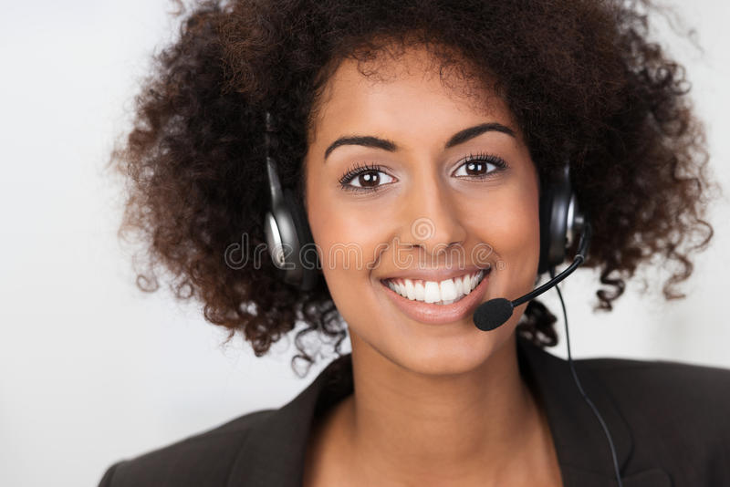 African American businesswoman in a headset stock photo