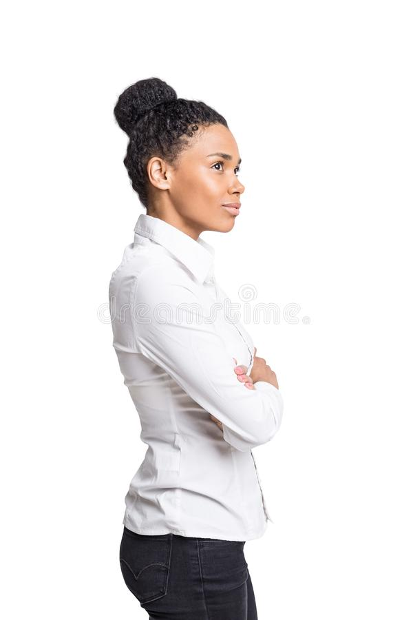 African American businesswoman, isolated royalty free stock images