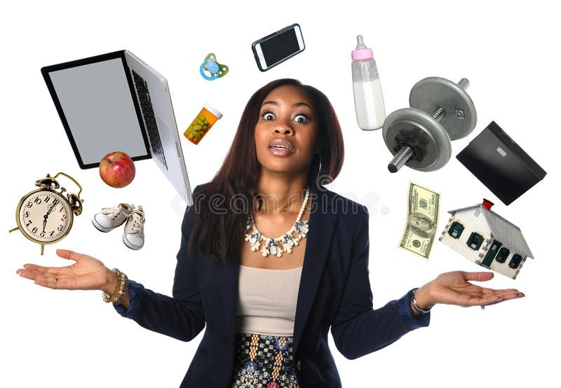 African American Businesswoman Juggling royalty free stock photos