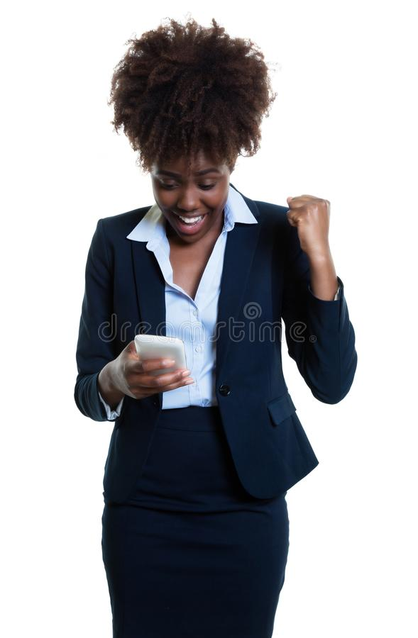 African american businesswoman making business with phone stock images
