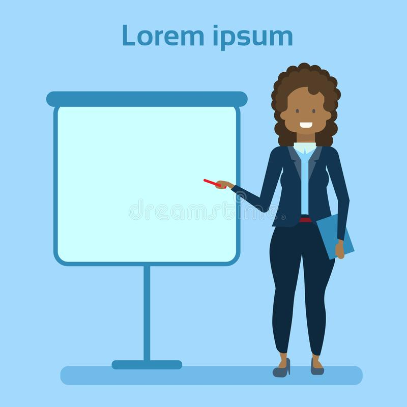 African American Businesswoman Pointing To Empty White Board, Showing An Copy Space, Business Woman Presentation Or. Conference Concept Flat Vector Illustration stock illustration
