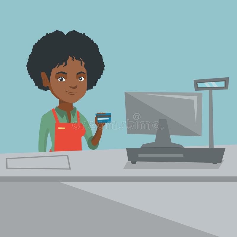 Young african-american cashier holding credit card vector illustration