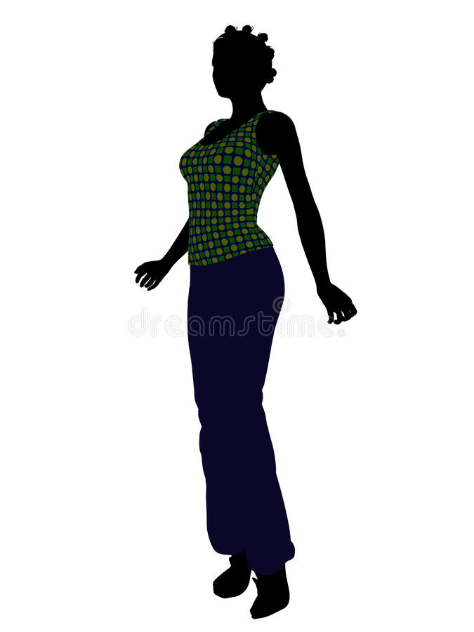 African American Casual Woman Silhouette Stock Photos