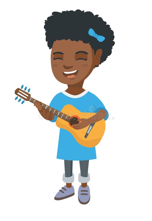African girl singing and playing acoustic guitar. royalty free illustration