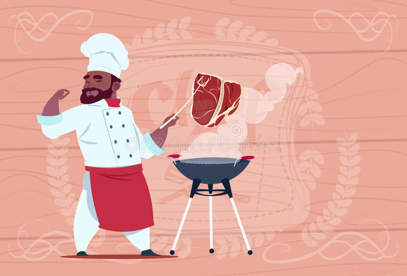 African American Chef Cook Grill Meat On Bbq Cartoon Restaurant Chief In White Uniform Over Wooden Textured Background. Flat Vector Illustration stock illustration