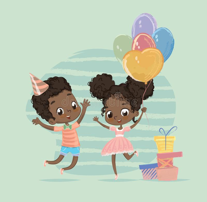 African American Child Birthday Party Character Holding Balloon. Cute Happy Baby Boy and Girl Jump at Present Box stock illustration
