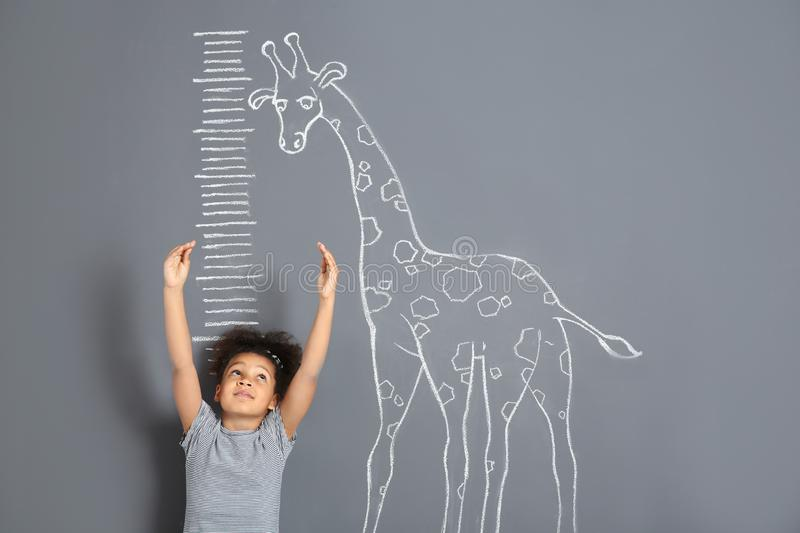 African-American child measuring height near chalk giraffe drawing on grey. Background royalty free stock photo