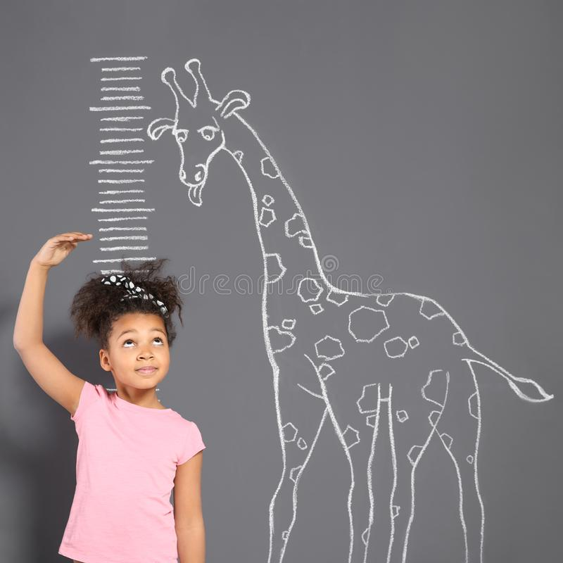 African-American child measuring height near chalk giraffe drawing. On grey wall royalty free stock images