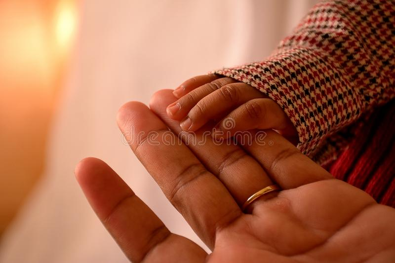 African american child and mother holding hands royalty free stock images
