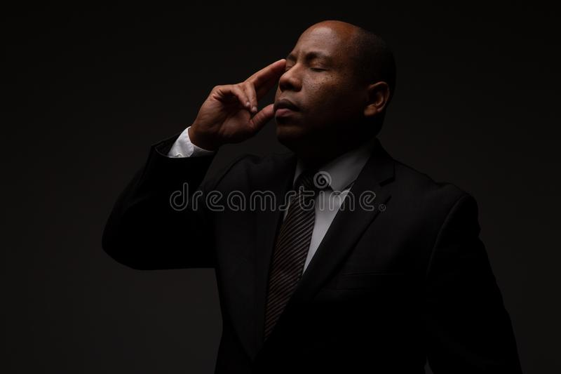 African American Christian Man In Deep Meditation stock photography