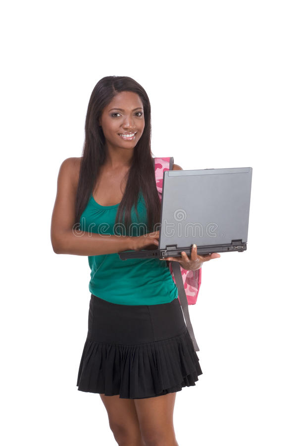 Download African American College Student With Laptop PC Stock Image - Image: 12309921