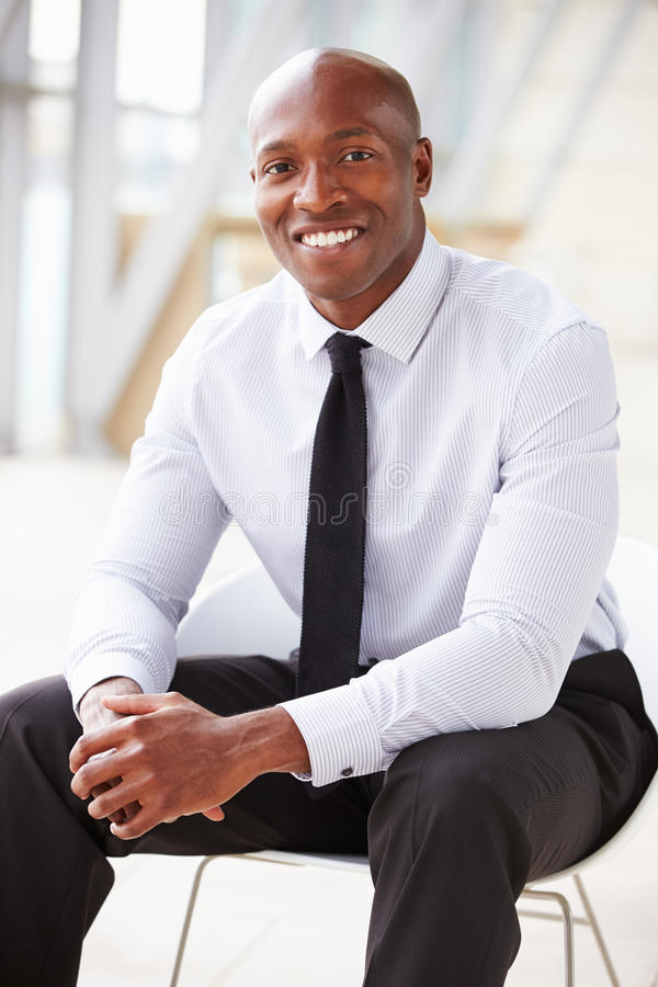 African American corporate businessman, vertical portrait royalty free stock images