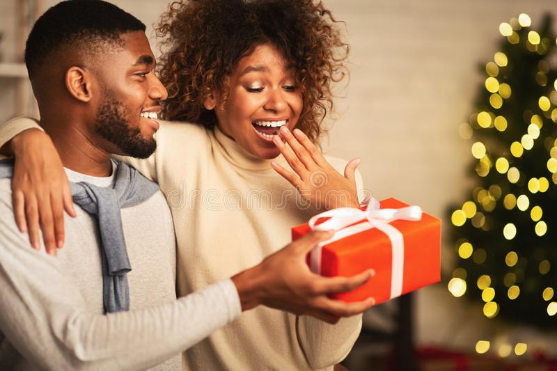 African-american couple celebrating Christmas at home, free space royalty free stock photo