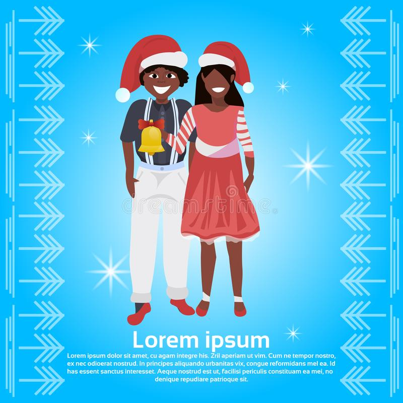 African american couple red hat holding bell happy new year merry christmas concept flat man woman blue background full royalty free illustration