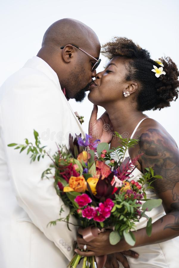 African American couple`s wedding day royalty free stock photo