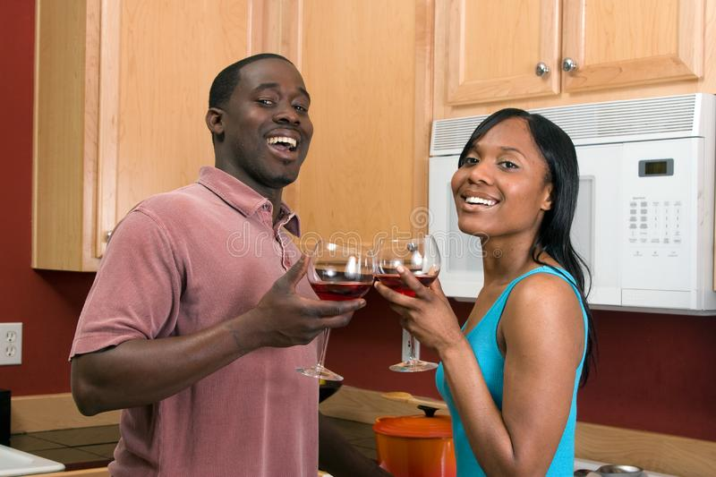 African American Couple With Wine Glasses -Hor royalty free stock photo