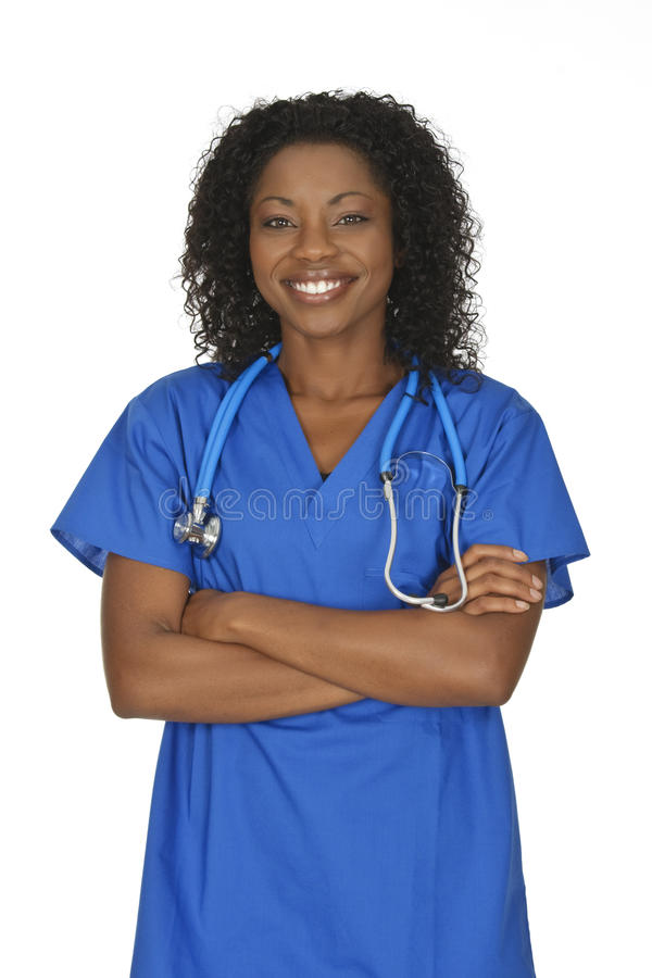 Beautiful African American woman doctor or nurse stock images