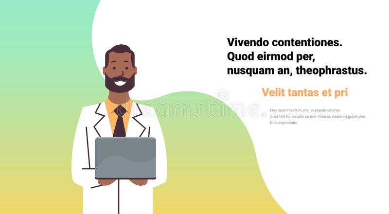 African american doctor hold laptop computer online consultation medical clinics worker hospital flat horizontal copy. Space vector illustration royalty free illustration