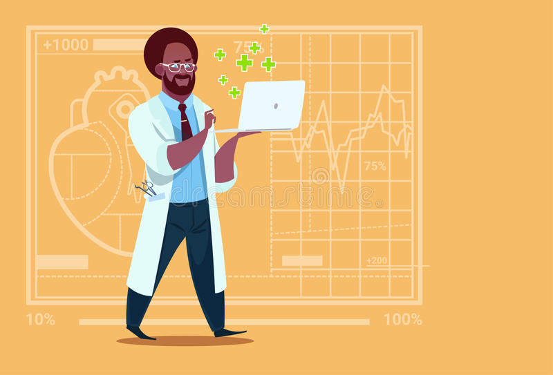African American Doctor Hold Laptop Computer Online Consultation Medical Clinics Worker Hospital. Flat Vector Illustration stock illustration