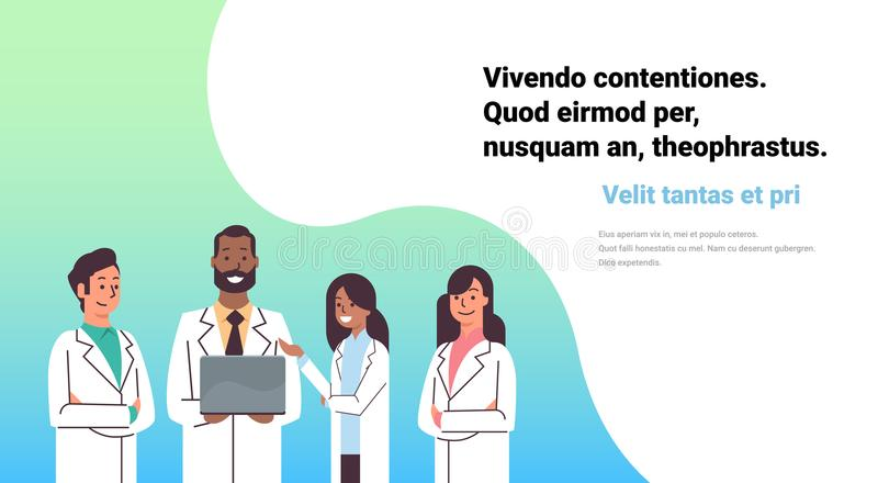 African american doctor hold laptop computer online consultation mix race pharmacists team medical clinics worker. Hospital flat horizontal copy space vector vector illustration