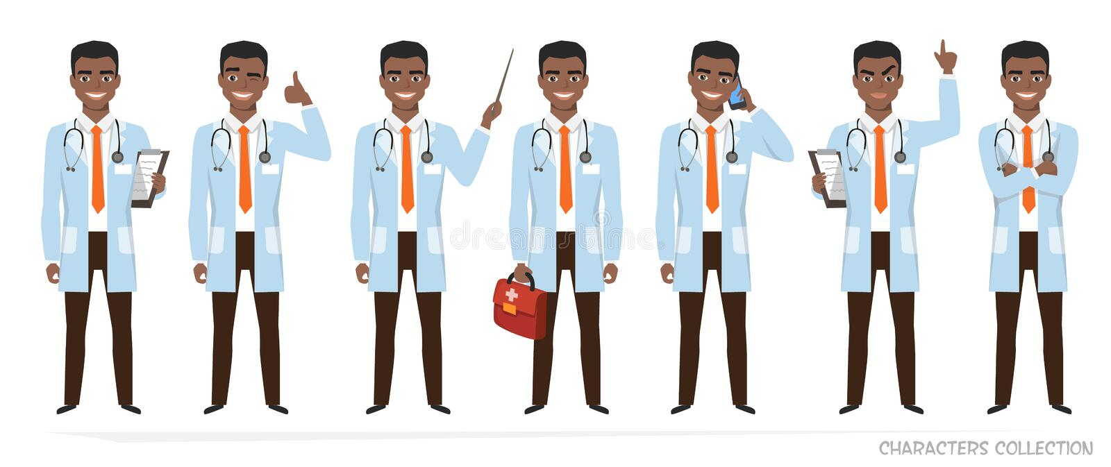 African american doctor with a stethoscope. Vector set of emotions and poses vector illustration