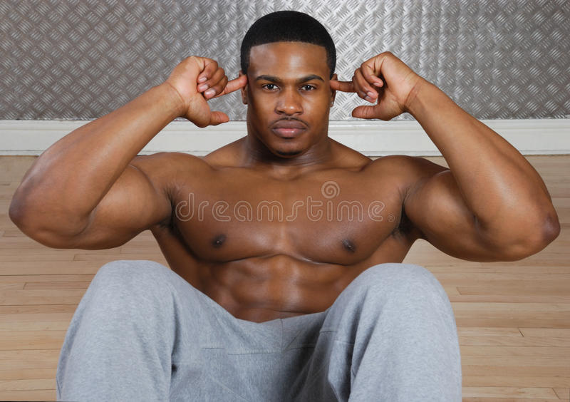 African american doing sit ups and crunches stock photo