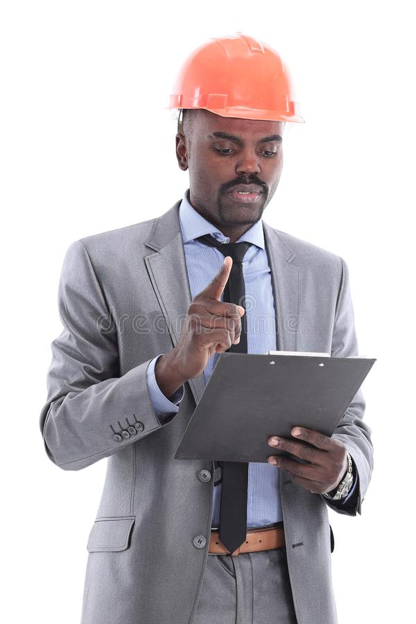African american engineer a over white background royalty free stock photo