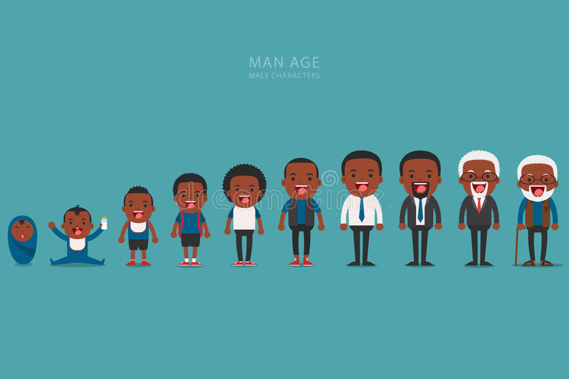 African american ethnic people generations at different ages. Aging concept of male characters, the cycle of life from childhood to old age royalty free illustration