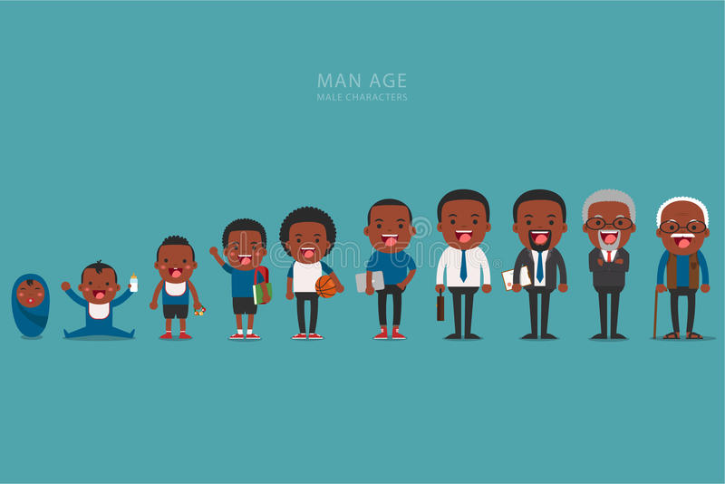 African american ethnic people generations at different ages. Aging concept of male characters, the cycle of life from childhood to old age vector illustration