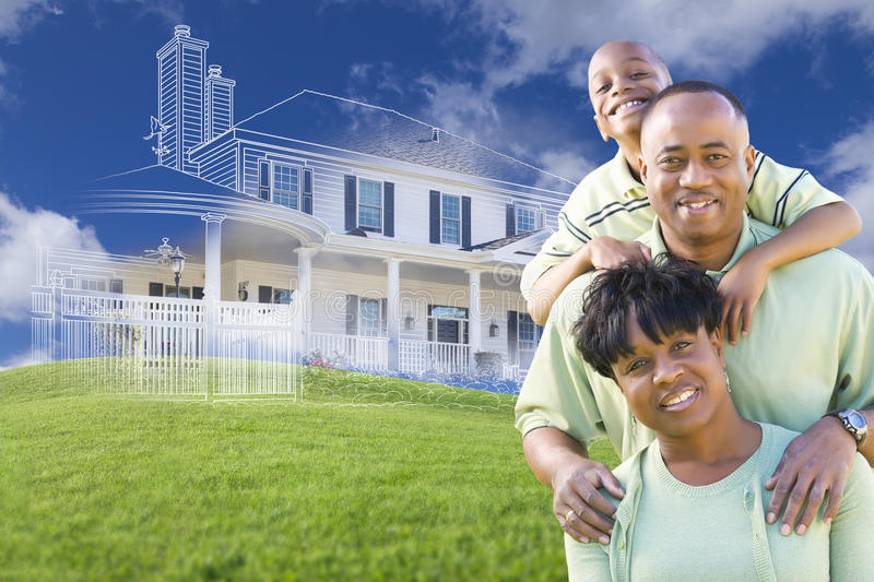 African American Family with Ghosted House Drawing Behind. Happy African American Family with Ghosted House Drawing, Partial Photo and Rolling Green Hills Behind royalty free stock photo
