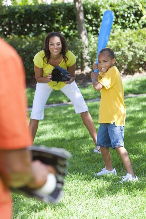 African American Family Playing Baseball stock photo