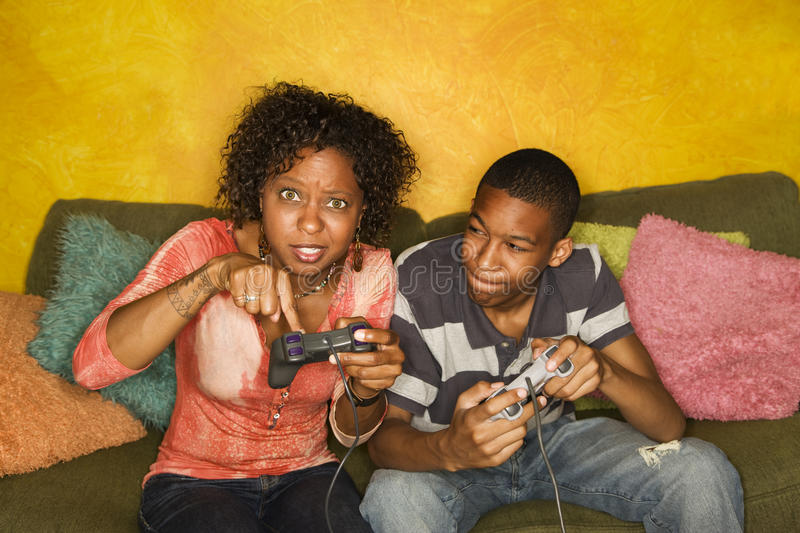 African-American Family Playing Video Game Royalty Free Stock Photography