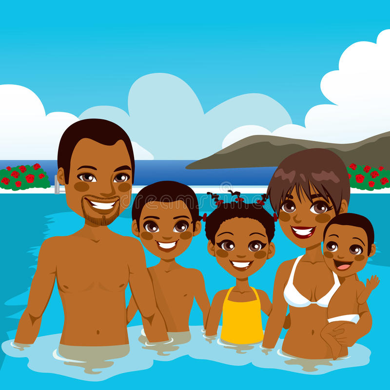 Young african-american family strolling Royalty Free Vector