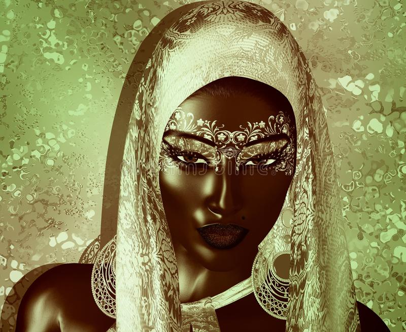 African American Fashion Beauty with head veil and glitter cosmetics. stock illustration