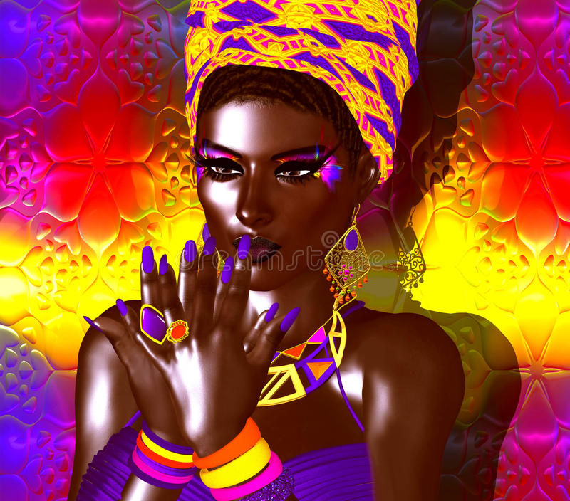 African American Fashion Beauty. A stunning colorful image of a beautiful woman with matching makeup, accessories and clothing stock illustration