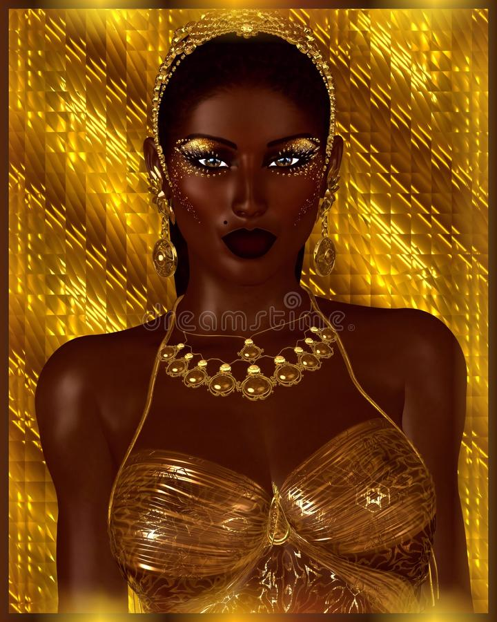 African American Fashion Beauty. A stunning colorful image of a beautiful woman with matching makeup, accessories and clothing vector illustration