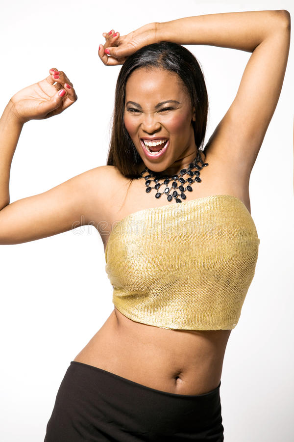 Download African-american Fashion Model In Gold Dress. Stock Photo - Image: 14342768