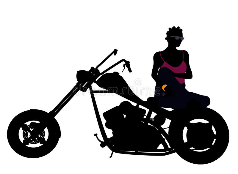 African American Female Biker Silhouette royalty free stock photo