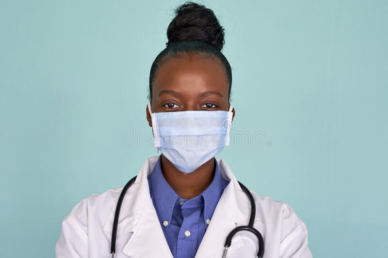 African American Female Doctor Wear Face Mask Look At Camera, Headshot  Portrait. Stock Photo - Image of hospital, person: 188810226