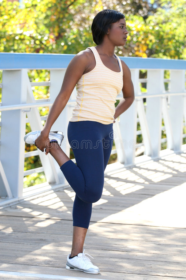 Download African-American Female Exercising, Stretching Stock Photo - Image: 6842278