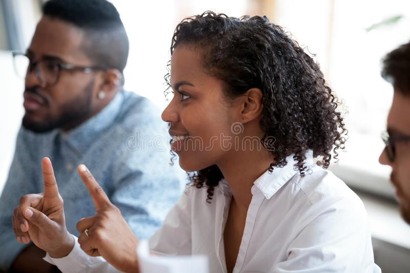 African american female worker involved in team discussion brainstorm. African american female worker student involved in team discussion brainstorm, black royalty free stock photography