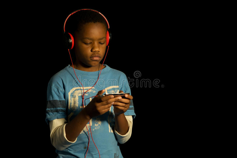 African American gamer. stock image