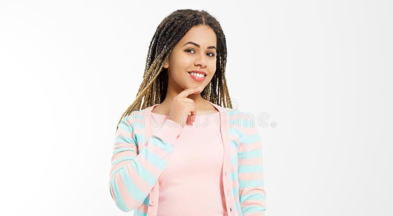 African american girl in fashion clothes isolated on white background. Woman hipster with afro hair style. Copy space. Banner royalty free stock image
